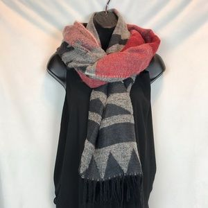 Accessories - Red black Geometric Fringe Scarf
